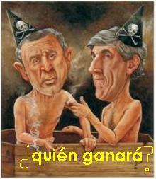 Quedan 5 días, ¿quién ganará? ¿Bush o Kerry? ¿la lucha o la ducha del poder? ....o ¿el presidente del tribunal? ¿Habrá tongo?